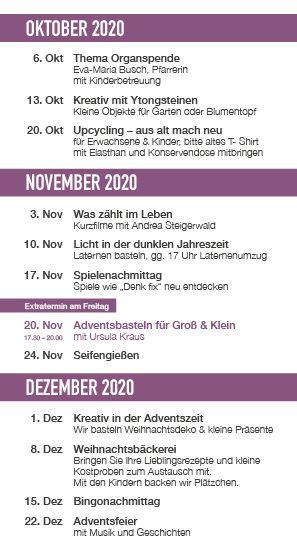 Programm im Oststadttreff Okt-Dez 2020